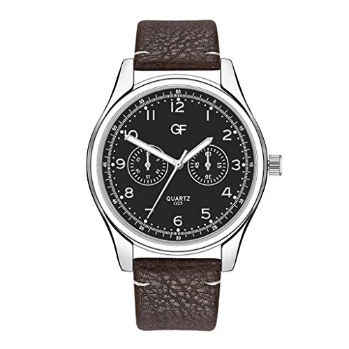 Huacat Herren Kalender Quarzuhr Quarz mit Leder Mesh Metall-Armband Chronograph Armband Business StahlGürtel casual Multi Zifferblatt Herrenuhr (Vintage Orient Kalender-uhr)