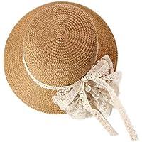 FENICAL Niñas niños Sombrero de Paja Protección Solar Sombrero Sombrero de Playa Sombreros de Verano con Encaje y moño (Caqui)