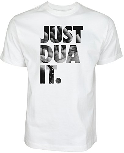 Just Dua It - Hand to The Sky | Islamische Streetwear Kleidung für Muslime T Shirt BEDRUCK Outdoor Islam Fashion (M, Weiß)