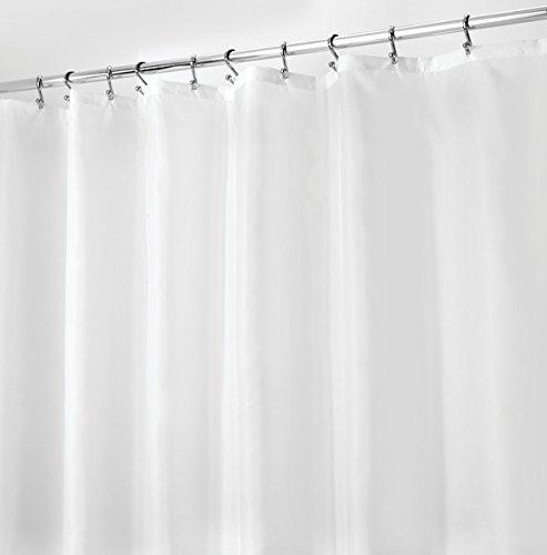 mDesign Duschvorhang Anti-Schimmel - 180 cm x 200 cm - schlichter Dusch- & Badewannenvorhang - Duschvorhang wasserabweisend - 12 verstärkte Metallösen - Farbe: weiß