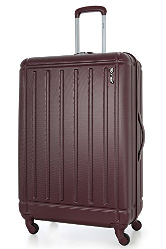 5 Cities Large 29�?� Lightweight ABS Hard Shell Hold Check In Luggage Suitcase with 4 Wheels, Burgundy