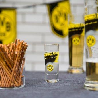Borussia Dortmund BVB Schnapsglas Südtribüne, Glas, Schwarz/Gelb, 6 x 6 x 6 cm, 2-Einheiten
