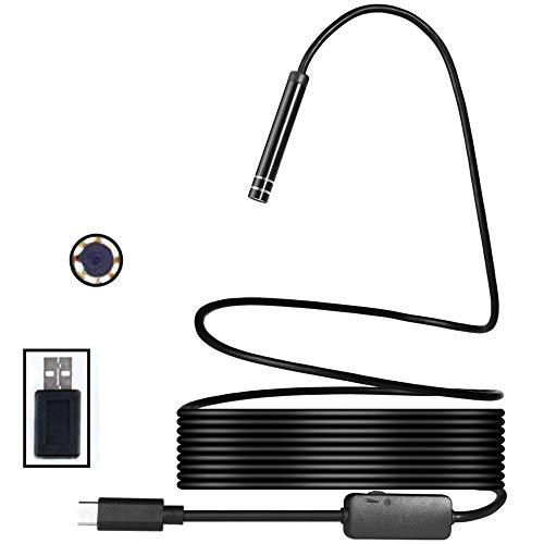 FSM88 USB-Endoskop Typ C-Endoskop, 2-in-1-Endoskop-HD-Schlangenkamera, 720P-Endoskop, IP67, wasserdicht, halbsteif, mit 8 LED-Leuchten, geeignet für Pipeline- / Industrietests,8mm,2M