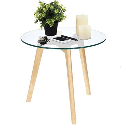 garten glastisch rund Multistore 2002 Beistelltisch Rund 50xH45cm, Natur/Transparent, Glastisch Couchtisch Wohnzimmertisch Nachttisch