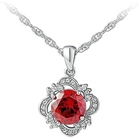 AienidD Cristales Regalos de Navidad-Collar Mujer Joven Cuadrado de Flor del Embutido Rojo Círculo Cristal Collares Dijes para las Mujeres