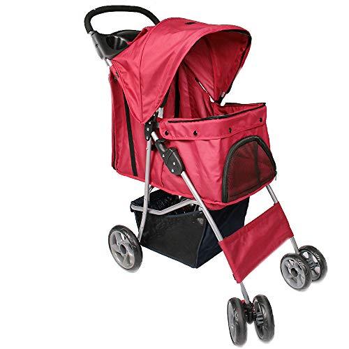 Leopet Hundebuggy für Hunde bis 15 kg | aus wasserdichtem Material, mit Klappfunktion und praktischer Einkaufstasche, Farbwahl | Pet Jogger, Tiere Wagen, Buggy Stroller (Rot)