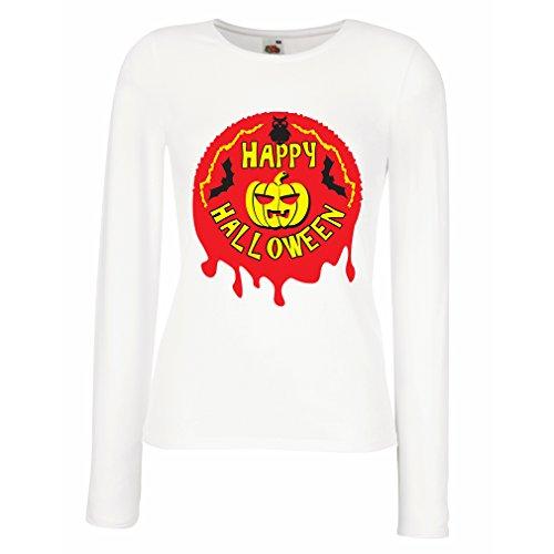 Weibliche Langen Ärmeln T-Shirt Happy Halloween! - Party Clothes - Pumpkins, Owls, Bats (Small Weiß Mehrfarben)
