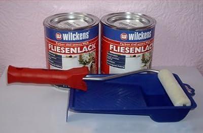 2 DOSEN FLIESENLACK Fliesenfarbe CREMEWEIß 2 x 750ml + LACKIERSET von Eco bei TapetenShop