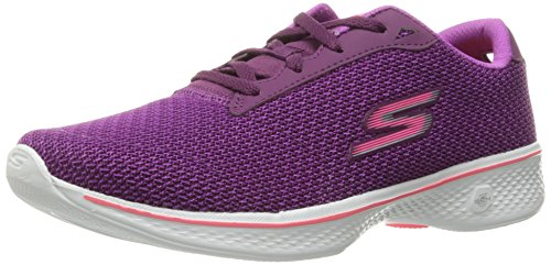 Skechers Go Walk 4 Glorify, Baskets Basses Femme Purple Textile-Pink Trim