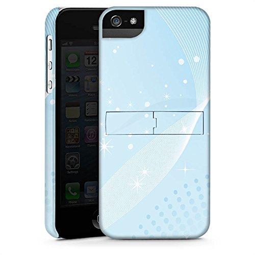 Apple iPhone 4 Housse Étui Silicone Coque Protection Étoiles Petits points Bleu clair CasStandup blanc