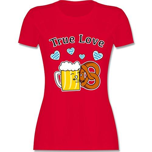 Oktoberfest Damen - True Love- Bier und Breze - tailliertes Premium T-Shirt mit Rundhalsausschnitt für Damen Rot