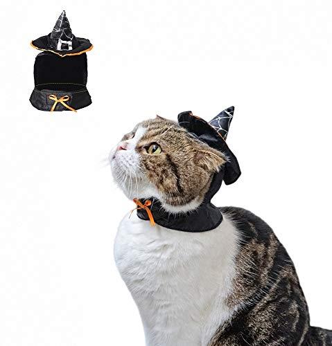 FZ FUTURE Halloween Katzen-Zaubererhut, Zaubererkragen, Halloween Kostüm für Katze Hund, Hunde kostümiert Nettes Cosplay, für Halloween, Partys, Feste-Größe - Hunde Cowboy Kostüm Muster