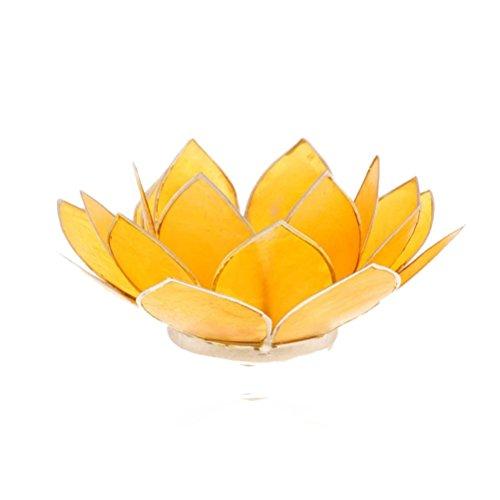 Porte Bougie Capiz Fleur de Lotus Jaune 13,5cm