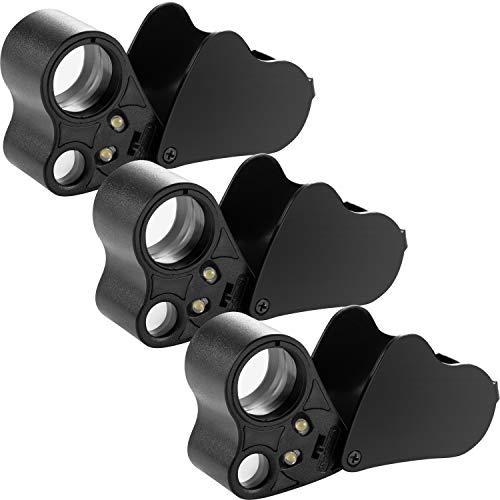 3 Stücke 30X 60X Schmuck Lupe Doppel Linsen Taschen Lupe LED Beleuchtete Lupe Auge Lupe für Schmuck Münzen -