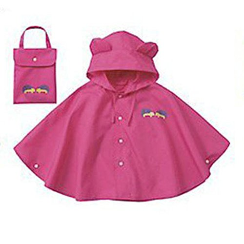 Mainaisi-Bambini-Poncho-Impermeabile-Waterproof-Big-Ear-con-Cappuccio-Button-Suit-Rose-Rosse2XL155-170CM