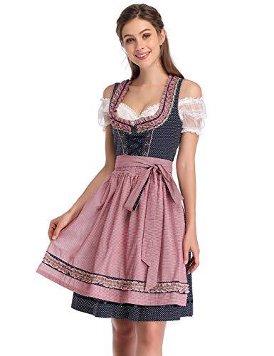 KOJOOIN Damen Dirndl Trachtenkleid Kurz mit Stickerei Exklusives Designer für Oktoberfest - DREI Teilig: Kleid, Bluse, Schürze Dunkelblau 36