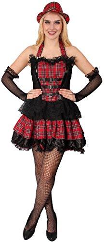 Punk Kostüm schwarz-grau-rot für Damen | Größe 40 | 1-teiliges Gothic Kostüm | Punker Faschingskostüm für Frauen | Punkerin Kleid für Karneval