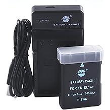 DSTE EN-EL14 Li-ion Batería Traje y cargador micro USB para Nikon Coolpix P7000 P7100 P7700 D3100 D3200 D5100 D5200 D5300
