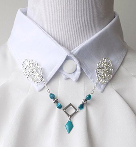 shirt-collar-jewelry-silver-square-with-pendant-enamel-resin-epoxy-turquoise-and-turquoise-beads