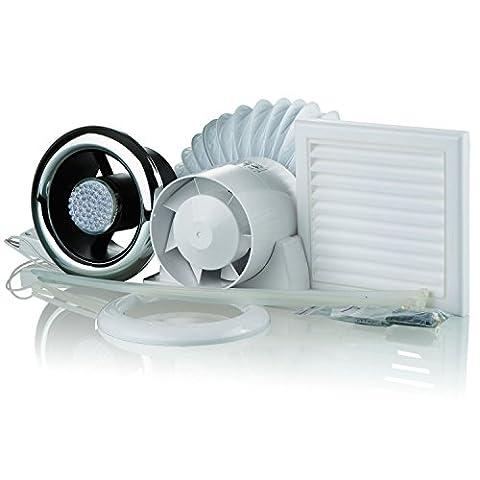 Blauberg UK Kit Vko 100–2-led 100mm Évents Vko kit de ventilation de douche de salle de bain avec minuteur et éclairage LED–Chrome