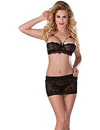 ab5ec74231ea8 Sexy Black keyhole bra set short skirt thong beautiful lingerie set 8 10 12  UK