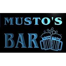 Cartel Luminoso w011850-b MUSTO Name Home Bar Pub Beer Mugs Cheers Neon Light Sign