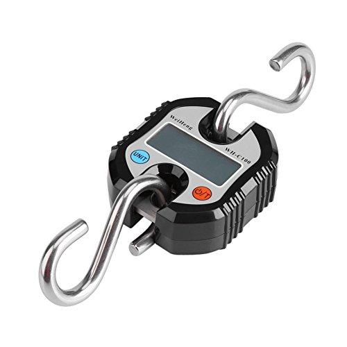Digital Hängewaage, 150kg/50g Tragbare Mini Crane Maßstab LCD Digital elektronische Haken Hängewaage Schlaufe Wiegen Balance für Home Farm Jagd Lebensmittel Markt Express Gewicht (schwarz) -