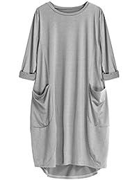 VJGOAL Damen Kleid, Damen Plus Größe Mode Tasche Lose Langarm Kleid Casual Rundhalsausschnitt Casual Lange Tops
