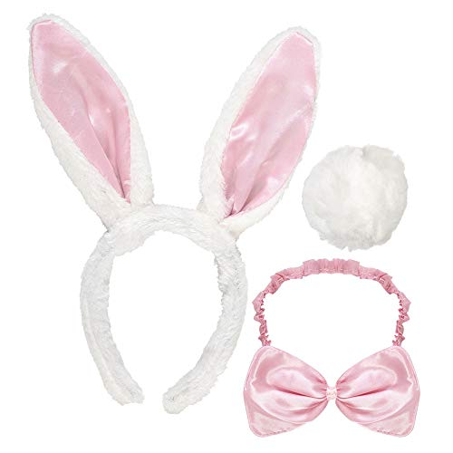 Widmann 5466B - Kostümset Häschen mit Ohren, Fliege und Schwanz (Playboy Bunny Kostüm Schwarz)