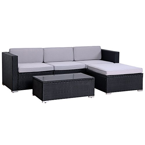 SVITA California Poly-Rattan Lounge Gartenset Sofa-Set Garnitur Gartenmöbel Couch-Set