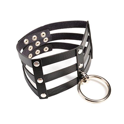 Fashion Style Leder Halsbänder Beach Boho Gyspy Silber vergoldet rund Ring Sexy Halskette (Sexy Importiert)