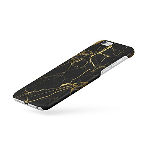 Black Cracked Marble Stone Print Apple iPhone 6 , iPhone 6S Snap-On Hard Plastic Protective Shell Case Cover Custodia Glamorous Black