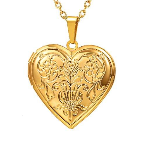 alskette Blumen Muster Herz Anhänger zum Öffnen mit 50+5cm Kette Gelbgold überzogen Herz Medaillon Photo Bilder Amulett Geschenk für Valentinstag Weihnachten, Gold ()