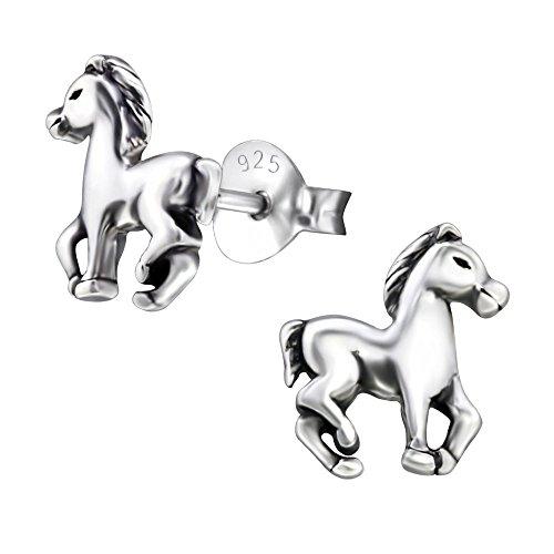 Laimons Kids Orecchini a pressione per bambini gioielli per bambini Cavallo pony ossidato Argento Sterling 925