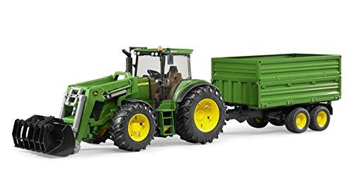 BRUDER - 03055 - Tracteur JOHN DEERE 7930 vert avec fourche et remorque double