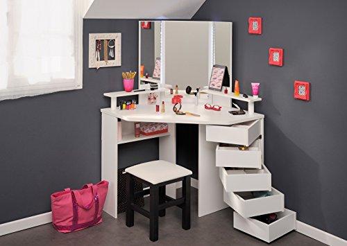 Eck-Schminktisch + Hocker Frisierkommode Kommode Schminkspiegel Make up Spiegel Kosmetiktisch Kosmetik Set Mädchen Kinderzimmer Frisiertisch (Kinder Kommode Spiegel)