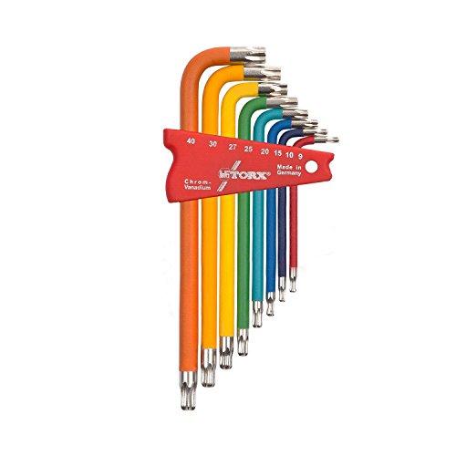 TORX® 70587 Winkel Schraubendreher Set Farbcodiert mit Kugelkopf 8tlg. TX 9-40 | Made in Germany | Torxschlüsselsatz | Schraubenschlüssel | T9 | T10 | T15 | T20 | T25 | T27 | T30 | T40 | TX | bunt | farbig | für Torx Schrauben (Torx Schraubenschlüssel T30)