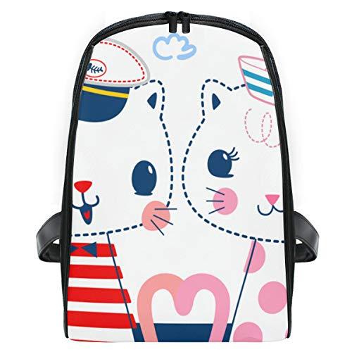 1 2 Kostüm Katze Was Hat - ELIENONO Cartoon Zwei Katzen Seemann Kostüme Text,Laptop Rucksack für Männer Schulrucksack Multifunktionsrucksack Mini Tagesrucksack für Schule Wandern Reisen Camping