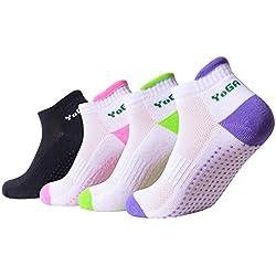 4pares de calcetines antideslizantes de algodón para yoga, pilates, calcetines con agarre de algodón para mujer