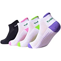 QBSM Women Non Slip Anti Skid Yoga Socks with Grips for Fitness, Dance, Pilates, Barre, Martial Arts, Gym
