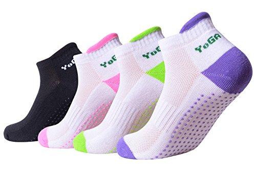 4Paar rutschfeste Skid Yoga Pilates Socken mit Grips Baumwolle für Frauen (Set1)