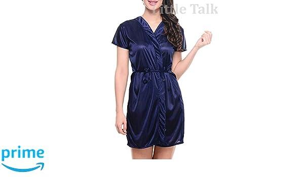 5aa463f338 Little Talk Women Satin Short Robe (Blue)  Amazon.in  Clothing   Accessories