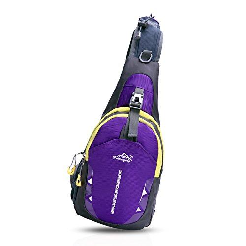 FANDARE Sling Bag Rucksack Umhängetasche Brusttasche Messenger Bag Hiking Bag Daypack Crossbody Bag Schultertasche Reiserucksack Polyester Gelb Lila