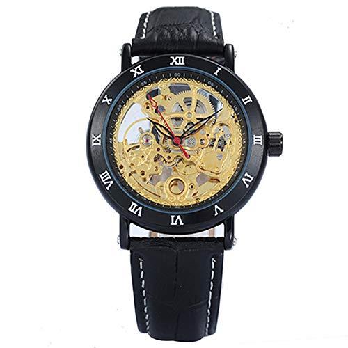 Orologi nuovi uomini neri orologio imported movimento numeri romani orologio da polso meccanico da uomo in pelle con quadrante dorato scheletro
