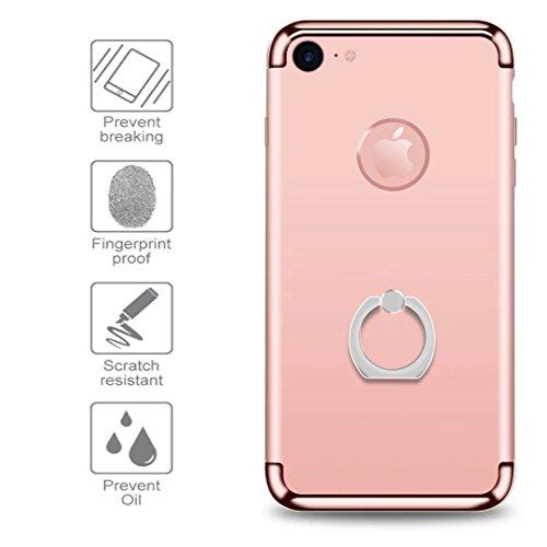 iPhone 7 Case, JOYROOM 3 in 1 ultra sottile e slim difficile custodia copertura con 360 anello rotante kickstand per iphone 7(Gold) Rose golden