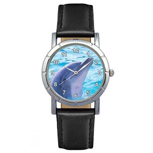 Timest - Delphin - Motiv Damenuhr mit Lederarmband in schwarz Rund Analog Quarz SA1508