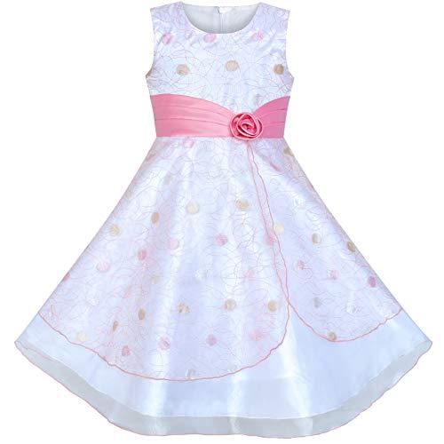Sunboree Mädchen Kleid Blume Punkt Tüll Rosa Hochzeit Party Brautjungfer Gr. 128 134