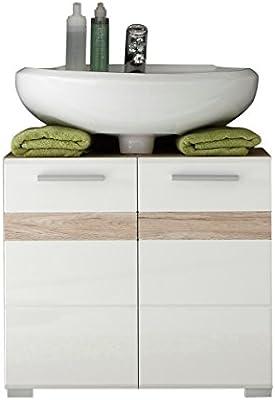 trendteam 133630196 Set One - Mueble para debajo de lavabo (roble San Remo claro, parte frontal en blanco brillante, fondo y estantes en roble San Remo claro, 60 x 56 x 34 cm)