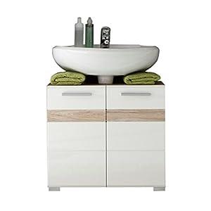 trendteam smart living Armario bajo de lavabo para baño Set One, 60 x 56 x 34cm, con cuerpo en roble San Remo claro (imitación)