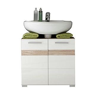 41EAC%2BAuM6L. SS324  - Trendteam 133630196 Set One - Mueble para debajo de lavabo, roble San Remo claro, parte frontal en blanco brillante